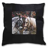 Horses in Love Animal Black Border Satin Feel Scatter Cushion