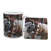 Horses in Love Animal Mug+Coaster Birthday Gift Idea