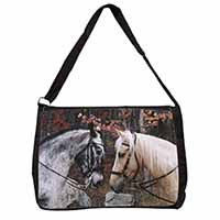 Horses in Love Animal Large Black Laptop Shoulder Bag School/College