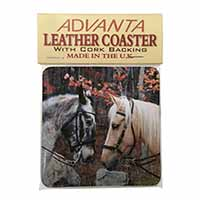 Horses in Love Animal Single Leather Photo Coaster Perfect Gift