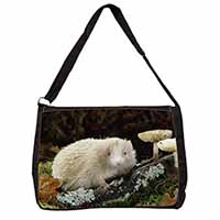 Albino Hedgehog Wildlife Large Black Laptop Shoulder Bag School/College