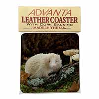 Albino Hedgehog Wildlife Single Leather Photo Coaster Perfect Gift