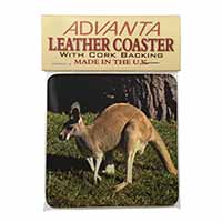 Kangaroo Single Leather Photo Coaster Perfect Gift