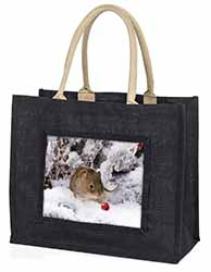 Cute Field Mouse in Snow Large Black Shopping Bag Birthday Present Idea