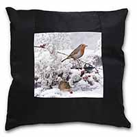 Snow Mouse and Robin Print Black Border Satin Feel Scatter Cushion