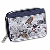 Snow Mouse and Robin Print Girls/Ladies Denim Purse Wallet Birthday Gift Idea