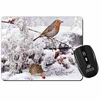 Snow Mouse and Robin Print Computer Mouse Mat Birthday Gift Idea