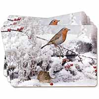 Snow Mouse and Robin Print Picture Placemats in Gift Box