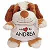 Adopted By ANDREA Cuddly Dog Teddy Bear Wearing a Printed Named T-Shirt