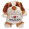 Adopted By ANGELIKA Cuddly Dog Teddy Bear Wearing a Printed Named T-Shirt