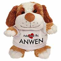 Adopted By ANWEN Cuddly Dog Teddy Bear Wearing a Printed Named T-Shirt