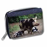 Mother and Piglets Girls/Ladies Denim Purse Wallet Birthday Gift Idea