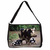 Mother and Piglets Large Black Laptop Shoulder Bag School/College