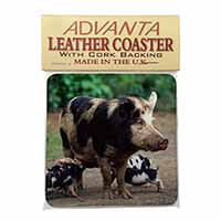 Mother and Piglets Single Leather Photo Coaster Perfect Gift