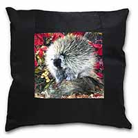Porcupine Wildlife Print Black Border Satin Feel Cushion Cover+Pillow Insert