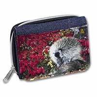 Porcupine Wildlife Print Girls/Ladies Denim Purse Wallet Birthday Gift Idea