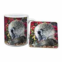 Porcupine Wildlife Print Mug+Coaster Birthday Gift Idea