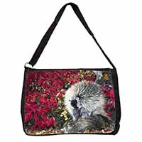 Porcupine Wildlife Print Large Black Laptop Shoulder Bag School/College