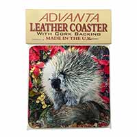 Porcupine Wildlife Print Single Leather Photo Coaster Perfect Gift