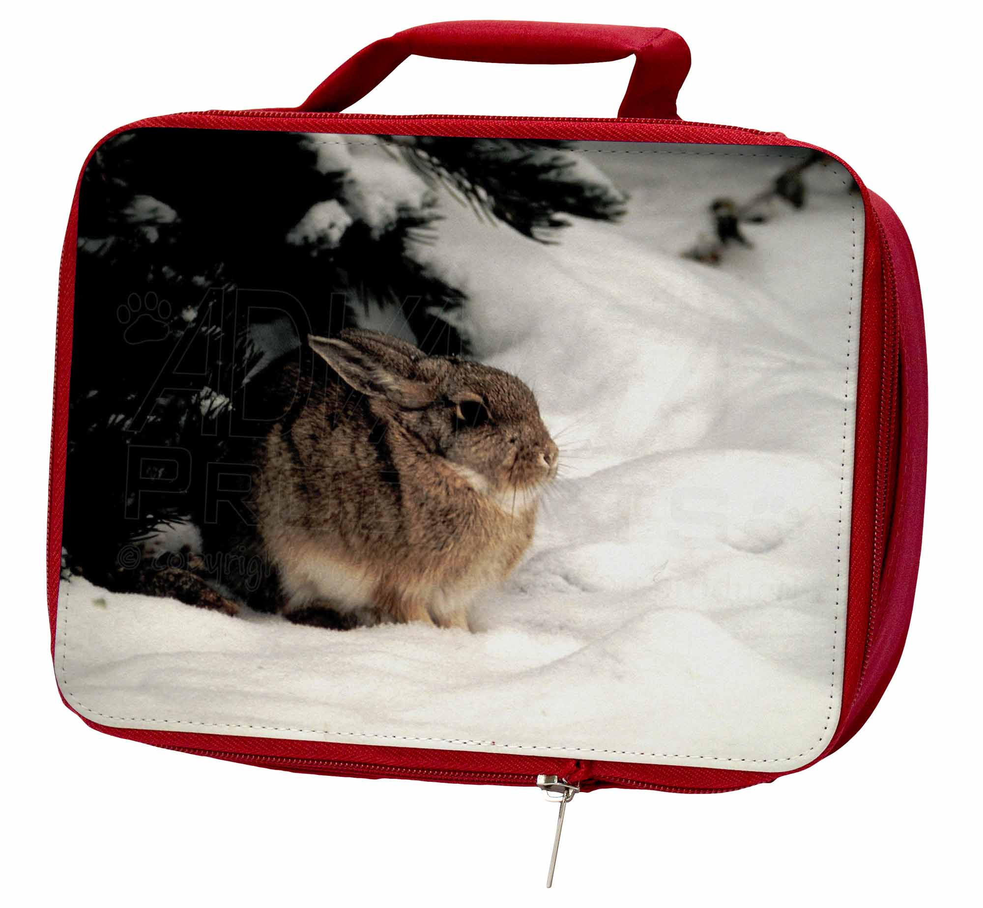 Rabbit in AR-4LBR Snow Insulated Red School Lunch Box/Picnic Bag, AR-4LBR in e0a4ec