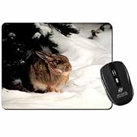 Rabbit in Snow Computer Mouse Mat Birthday Gift Idea