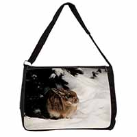 Rabbit in Snow Large Black Laptop Shoulder Bag School/College
