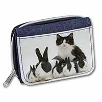 Belgian Dutch Rabbits and Kitten Girls/Ladies Denim Purse Wallet Christmas Gift