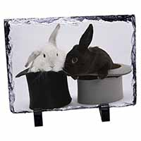 Rabbits in Top Hats Photo Slate Photo Ornament Gift