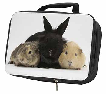 Rabbit and Guinea Pigs Print Black Insulated School Lunch Box Bag