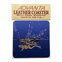 Diving Frog Single Leather Photo Coaster Perfect Gift