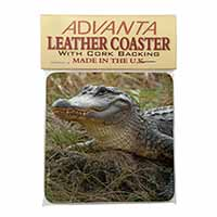 Crocodile Print Single Leather Photo Coaster Perfect Gift