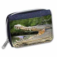 Nile Crocodile, Bird in Mouth Girls/Ladies Denim Purse Wallet Christmas Gift Ide