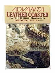 Rattle Snake Single Leather Photo Coaster Perfect Gift