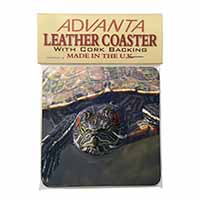 Terrapin Intrigued by Camera Single Leather Photo Coaster Perfect Gift