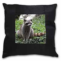 Racoon Lemur Black Border Satin Feel Cushion Cover With Pillow Insert