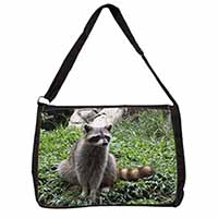 Racoon Lemur Large Black Laptop Shoulder Bag School/College