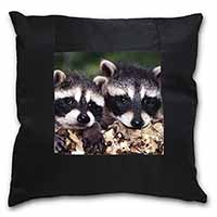 Cute Baby Racoons Black Border Satin Feel Scatter Cushion
