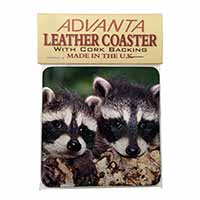 Cute Baby Racoons Single Leather Photo Coaster Perfect Gift