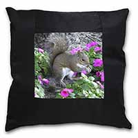Squirrel by Flowers Black Border Satin Feel Cushion Cover+Pillow Insert