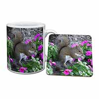 Squirrel by Flowers Mug+Coaster Birthday Gift Idea
