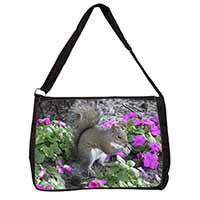Squirrel by Flowers Large Black Laptop Shoulder Bag School/College
