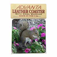 Squirrel by Flowers Single Leather Photo Coaster Perfect Gift