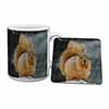 Red Squirrel in Snow Mug+Coaster Christmas/Birthday Gift Idea