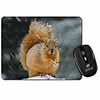 Red Squirrel in Snow Computer Mouse Mat Christmas Gift Idea