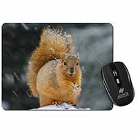Red Squirrel in Snow Computer Mouse Mat Birthday Gift Idea