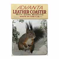 Forest Snow Squirrel Single Leather Photo Coaster Perfect Gift