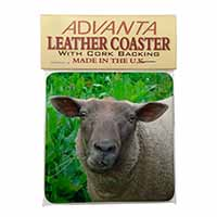 Cute Sheeps Face Single Leather Photo Coaster Perfect Gift