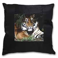 Bengal Tiger in Sunshade Black Border Satin Feel Scatter Cushion