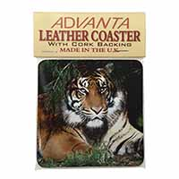 Bengal Tiger in Sunshade Single Leather Photo Coaster Perfect Gift