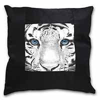 Siberian White Tiger Black Border Satin Feel Cushion Cover With Pillow Insert
